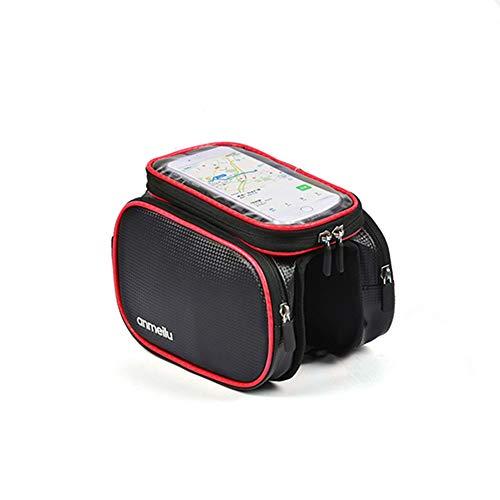 Gruncourt Bolsa de Bicicleta Bolsa de Haz Frontal Equipo Montaña en la Tubo Pantalla Táctil Bolsa de Teléfono Impermeable para Silla de Montar La Móvil se Puede Quitar (Rojo