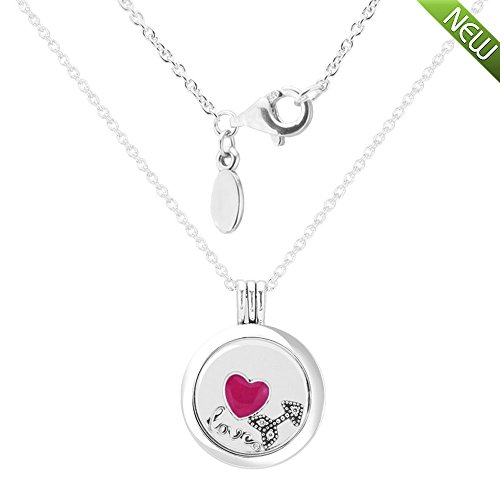 PANDOCCI 2017 Valentinstag Authentic 925 Sterling Silber Logo Schwimmende Locket Sapphire Kristallglas mit Liebe Feelings Petite Halskette Schmuck