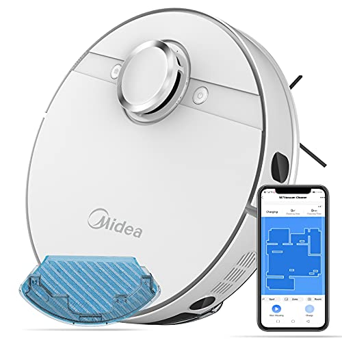 Midea Saugroboter mit Wischfunktion,4000PA Roboterstaubsauger Tierhaare Lasernavigation WiFi/App/Alexa,Selbstaufladung 2-in-1 wisch und saugroboter für Hartböden und Teppich(Weiß)