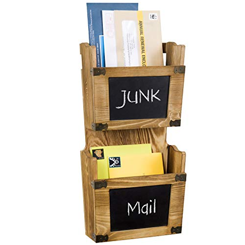 MyGift 2-Tier Wall Mounted Burnt Wood Mail Sorter with Chalkboards