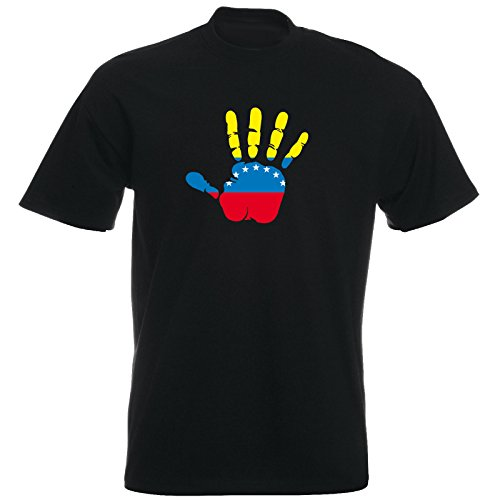 T-Shirt - Venezuela - Hand - Handabdruck - Fahne - Herren - Unisex - schwarz L