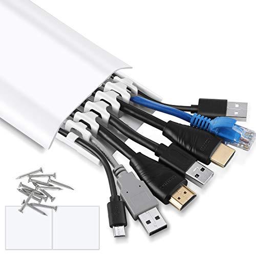 AGPTEK 6 Organizadores de Cables en Pared para Ordenador y Televisión, Gestión de Cableado con Tornillos y Cinta de Dos Lados, Solo Mide 30 * 6 CM