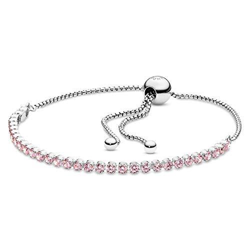 "PANDORA Jewelry Pink Sparkling Slider Tennis Cubic Zirconia Bracelet in Sterling Silver, 9.0"""
