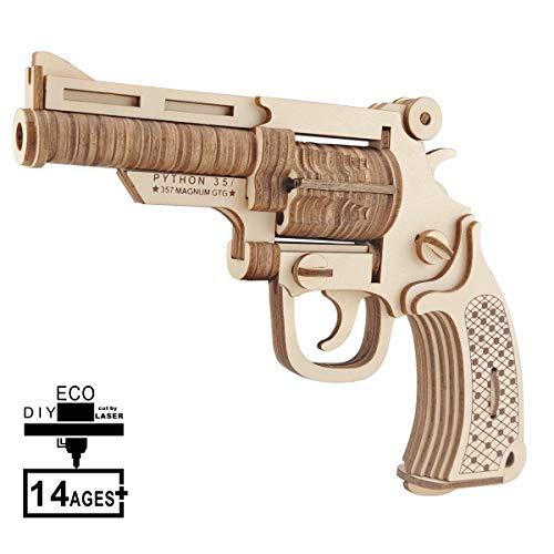 HQdeal Puzzle de Madera de 3D, Pistola Rompecabezas de Madera Cortado con Láser, Kit de Construcción de Modelo Pistola para Adolescentes y Adultos