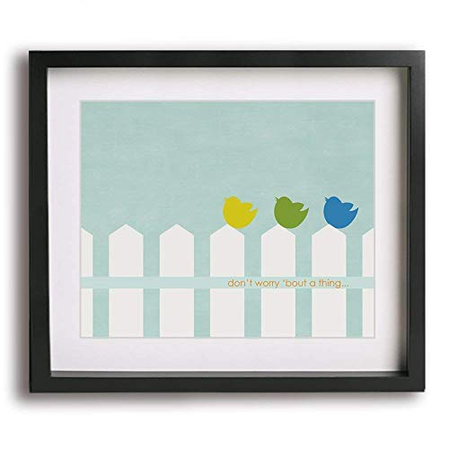 Three Little Birds by Bob Marley inspired song lyric wall art print, inspirational modern music poster home decor reggae quote