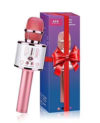 ShinePick Micrófono Karaoke Bluetooth, 5 en1 Microfono Inalámbrico Karaoke Mano Speaker Portátil con Luces LED, para Niños Canta Partido Musica, Compatible con Android, iOS, PC, Teléfono Inteligente