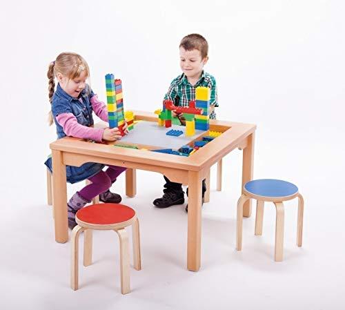 LEGO Spieltisch für LEGO und DUPLO mit 4 bunten Hockern (Komplett-Set: Tisch + 4 Hocker) 30051001
