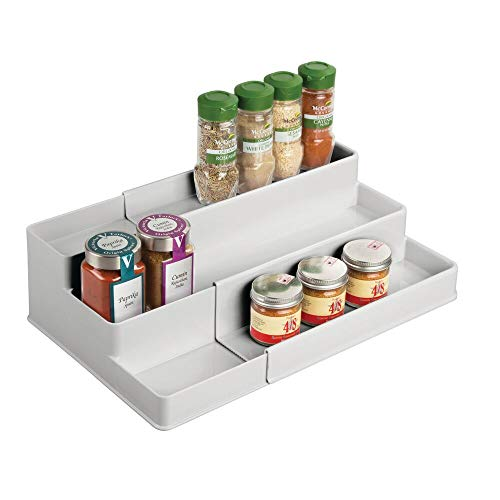 mDesign Especiero para Armario de Cocina o encimera – Estante Extensible para almacenar condimentos y ordenar la Cocina – Organizador de Especias de plástico con 3 Niveles – Gris Claro