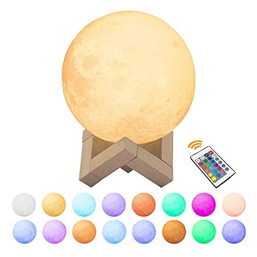 Lámpara de Luna 3D, Yizhet LED Luna Luz Nocturna Recargable USB 16 Colores y 4 modos Control Táctil y Control Remoto Lampara Lunar Luz Decorativa para Decoración Navideña Regalos para Niños (12cm)