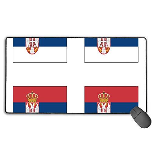 Großes Gaming-Mauspad/Mauspad, serbische Flagge, mit Rutschfester Gummiunterseite für Tastatur, PC, langlebige vernähte Kanten