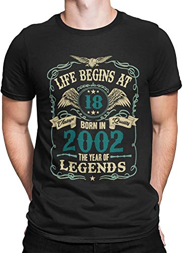 Mens 18th Birthday Gift - Life Begins at 18 Mens T-Shirt - Born in 2002 (Medium, Black)