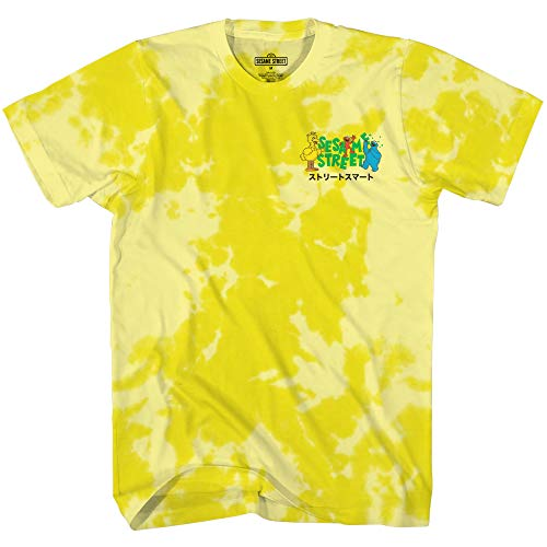 Sesame Street Mens Cookie Monster Classic Shirt Cookie Monster Tee - Tie Dye Front and Back T-Shirt (Yellow Dye, Medium)