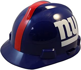 MSA NFL Team Safety Helmets with One-Touch Adjustable Suspension and Hard Hat Tote - New York Giants