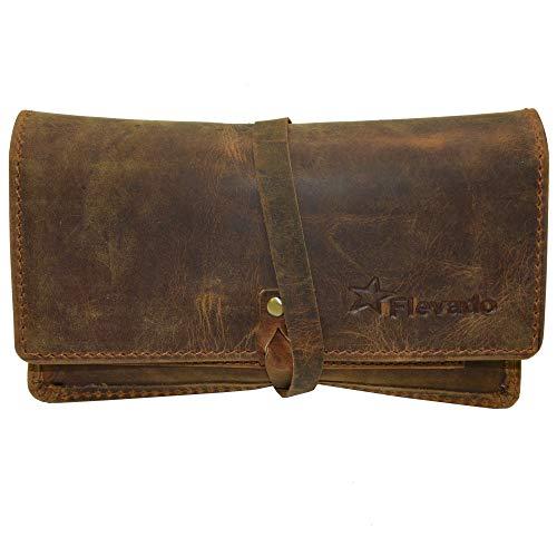 flevado Tabaktasche braun aus echtem Leder mit Paper Fach Tabakbeutel Drehertasche (braun)