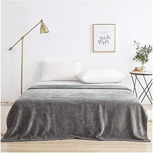 misshxh flanel deken, eenvoudige grijs bed cover super zacht en comfortabel groot formaat, geschikt voor enkele en tweepersoonsbed eenpersoonsbank 180x200cm