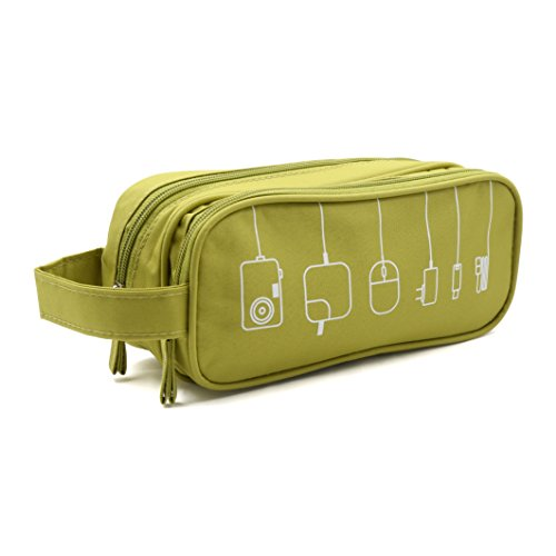 HONSKY Medium Water Repellent Travel Electronics Accessories Gadget Cable Cord Organizer, Hanging Cosmetic Makeup Toiletry Zipper Space Storage Bags Cases Pouch for Kid Women Men, Green