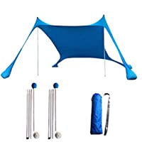 Floving Sombra de Playa con toldo para 4-5 Personas sombrilla portátil Anti-UV con Protector Solar para la Playa (Blue)