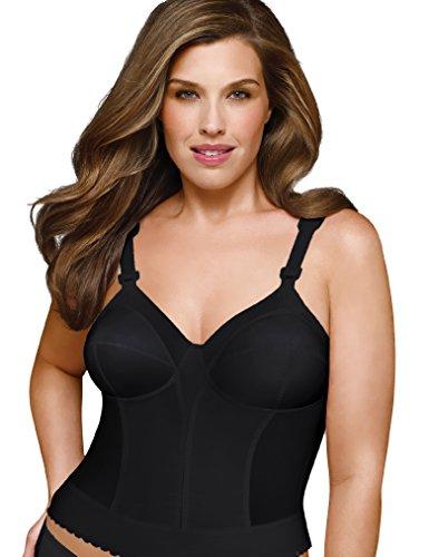 Exquisite Form Women's Intimate Apparel Plus Size Back Close Longline Bra, Black, 42DD
