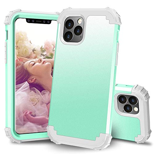 MyCase for iPhone 11 Pro (5.8 Inch) 3-in-1 PC+TPU Heavy Duty Hybrid Armor High Impact Shockproof Protective Case (Color : Green+Gray)