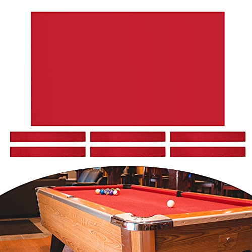 Milageto 8ft Pool Table Cloth with 6 Felt Strips for Snooker Billiard Table Maintain - Red