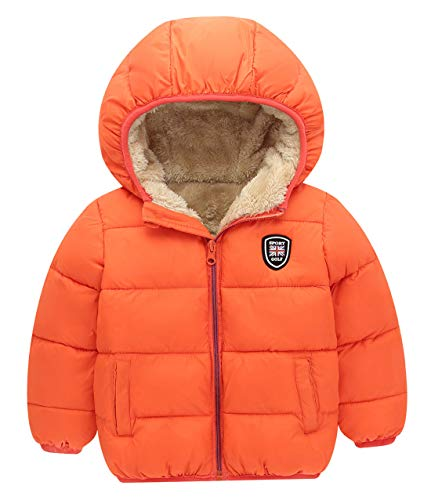 Kids Winter Thick Warm Fur Lined Jacket Boys Girls Zip Up Outwear Coat with Hood for 3-4 Years, Orange