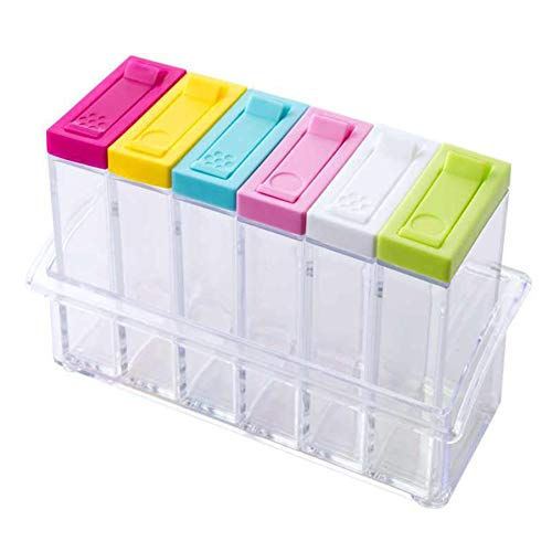 GEZICHTA 6 Stück/Set Gewürzbox, Küche Gewürzflaschen Aufbewahrungsbehälter mit Tablett Transparente Salz Aufbewahrungsbox Küchenzubehör Gewürztöpfe Pfeffer-Aufbewahrungsbox Organizer