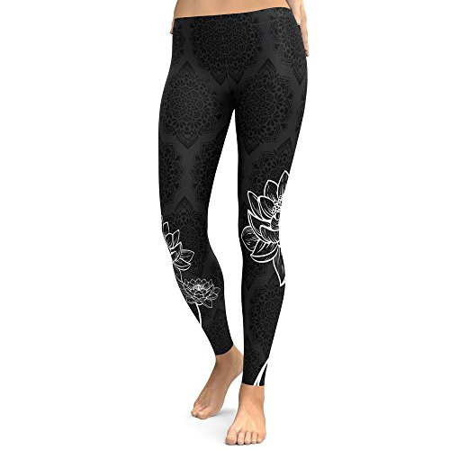YWLINK Damen Blume Drucken Yoga Training Gymnastik Leggings Fitness Laufen Sporthose Stretchhose(L,Schwarz)