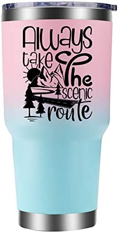 Motivational Tumblers Always Take The Scenic Route Tumbler 30oz Coffee Travel Mug for Women product image