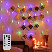 Magnoloran LED Photo String Lights with Remote Control, 20 Photo Clips Battery Powered Fairy Twinkle Lights, Wedding Party...