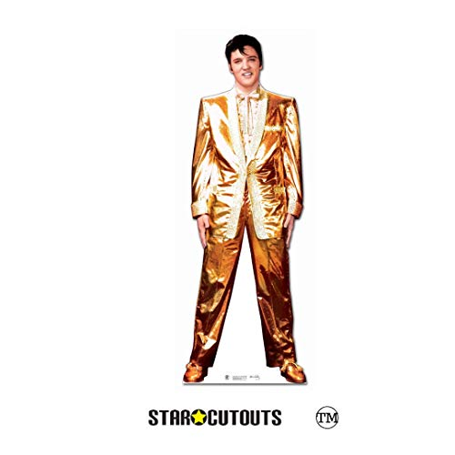Star Cutouts kartonnen display van Elvis Lame Suit (goud)