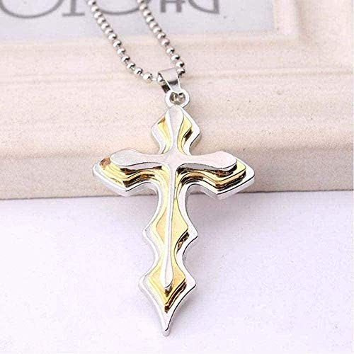 huangxuanchen co.,ltd Necklace Men's Multi-Layered Cross Pendant Necklace Styles Black Gold Blue Tone Clear Stainless Steel Jewelry-Gold-Color Pendant Necklace for Women Men Gift