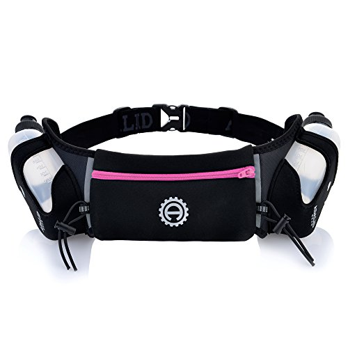 Hydration Belt for Running - Includes Accessories and Two 10-Ounce BPA-Free and Leak-Proof Water Bottles : A Bounce-Free & Lightweight Fuel Gear (Crayola Pink, Medium)