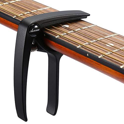 Asmuse Kapodaster für Gitarre Westerngitarre Akustische Klassische Gitarre Folkgitarre Ukelele E-Bass Instrument Guitar Capo mit 3 Gitarrenplektren