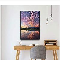 自然風景壁アートキャンバスポスターサンセットグローマウンテンレイク風景写真プリントリビングルームの家の装飾-60x100cmx1フレームなし