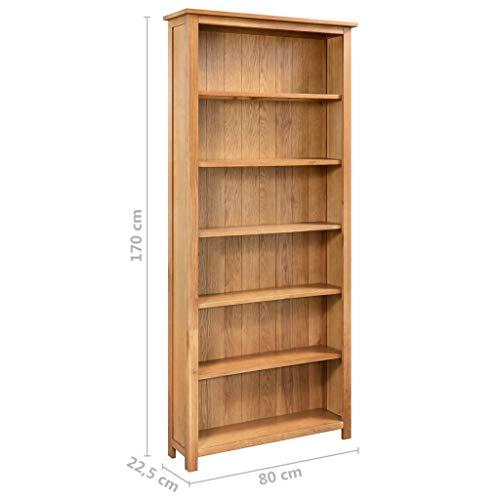 Estink - Estantería de madera con 6 estantes de madera maciza de roble, estantería para salón, 80 x 22,5 x 170 cm