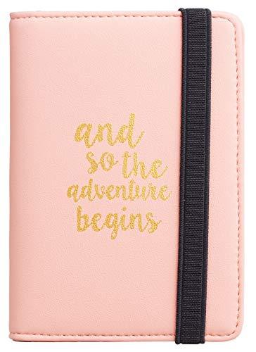 Casmonal Passport Holder Cover Wallet RFID Blocking Leather Card Case Travel Document Organizer (Napa Pink Lotus)