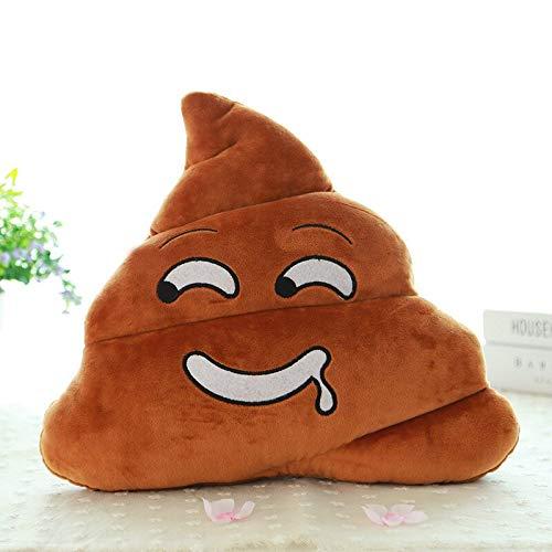 Cuscino a forma di cacca, con emoticon, in peluche, ricamato, colore: marrone, 35 x 33 x 10 cm