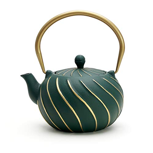 TOPTIER Tea Kettle Stovetop Safe Cast Iron Teapot with Infusers for Loose Tea 22 oz Light Green