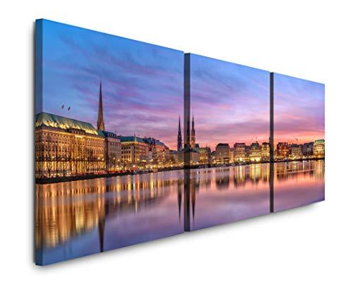EAUZONE GmbH Panorama Hamburg 220 x 70cm - 3 Bilder je 70x70cm Bild XXL Panorama Deko Wandbilder auf Leinwand