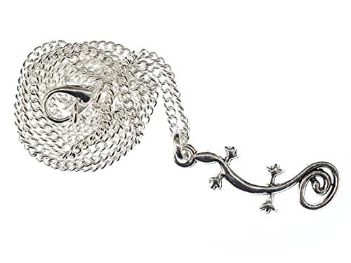 Miniblings Salamander Kette 45cm Halskette Anhänger Gecko Echse Eidechse Gekko Silber - Handmade Modeschmuck - Gliederkette versilbert