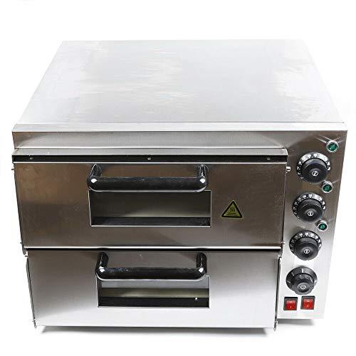 RANZIX Elektro Edelstahl Pizzaofen mit 2 Kammern, Pizzaofen Backofen für Pizza, Brot und Backwaren, Leistung 3000 Watt, Pizzabackofen Temperatur bis zu 350°C (2 Kammern)