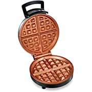 Hamilton Beach Belgian Waffle Maker with Non-Stick Copper Ceramic Plates, Browning Control, Indicator Lights, Stainless Steel (26081)