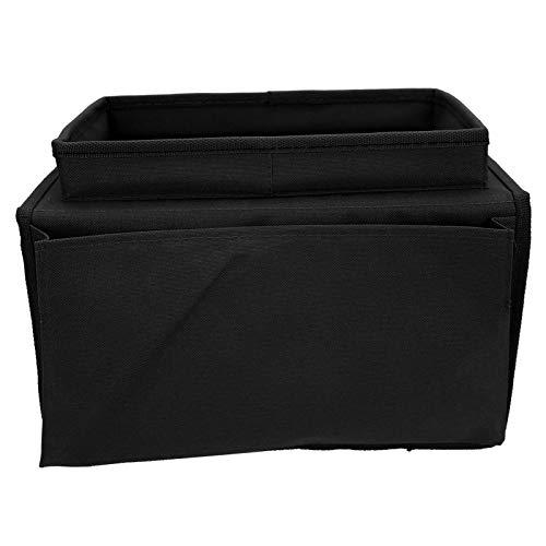 ZHC 4 bolsillos sofá apoyabrazos TV control remoto organizador sillón sofá bolsa con bandeja para portavasos (tela Oxford negro)