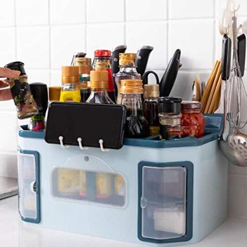 ACIL Multifunktionales Gewürzregal, Küchenregal, Werkzeugbox, Gewürzdose, Aufbewahrungsregal, blau, M