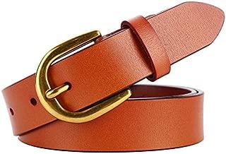 Happy-L Classic Retro Women's Vintage Wide Belt Simple Solid Color Leather Joker Casual Pin Buckle Belt (Color : Brown)