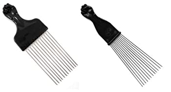 Afro Pick w/ Black Fist - Metal African American Hair Comb Combo