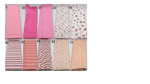 Stoffpaket rosa pink verschiedene Größen Baumwolle Stoffreste Webware Patchen Patchwork Baumwollstoff Restepaket unifarben einfarbig uni Blumen floral Blätter Punkte