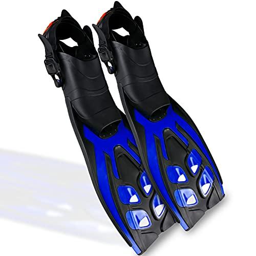 RABIGALA Flossen Erwachsene verstellbare Schnorchelflossen Taucherflossen, Schwimmflossen Flossen aus Naturkautschuk, für Erwachsene Kinder zum Tauchen Schwimmen Schnorcheln(Black/Blue, EU 42-47)