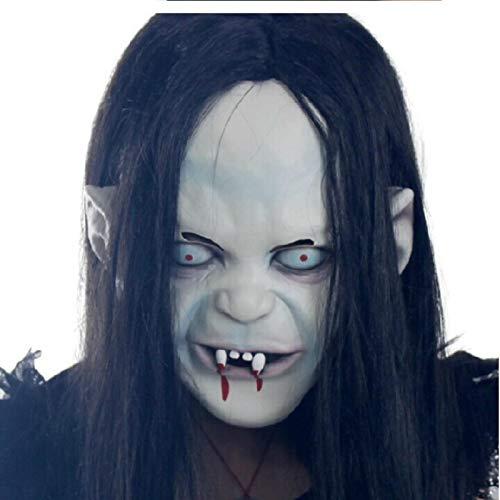 Máscara de Halloween Sadako Mascarilla de Halloween Máscara de Terror Fantasma Cabello largo Sadako Disfraz de Pelota de Rencor Cosplay Máscara de Látex Unisex Máscara de Halloween Blanco