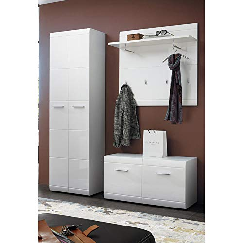 Lomadox Garderoben-Set in Hochglanz weiß mit Kleiderschrank und Schuhschrank